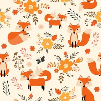 Tecido padrão de raposa