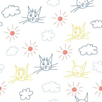 Tecido sem costura têxtil padrão de fundo. bebê doodle impressão de amostra de tecido