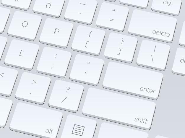 Teclado de computador em branco branco, close-up de imagem vetorial