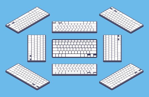 Teclado de computador preto genérico isométrico com chaves em branco brancas