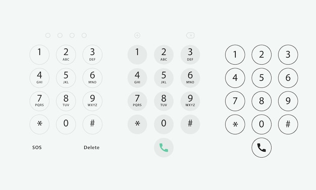 Teclado do telefone. modelo de teclado no dispositivo touchscreen. teclado do usuário com números e letras para telefone. teclado de interface para smartphone.