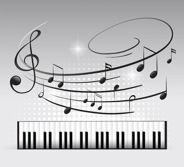 Teclado musical e nota