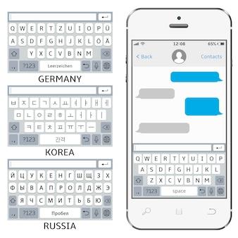 Teclados virtuais de telefones celulares em inglês, coreano, alemão e russo