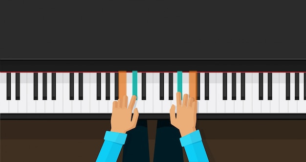 Teclas de piano com mãos de pessoa aprendendo a tocar acordes
