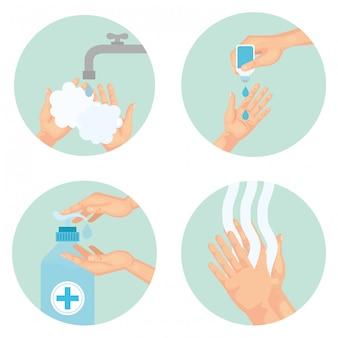 Técnica de lavagem das mãos usando desinfetante, desinfeta a ilustração limpa do tema antibacteriano e higiene