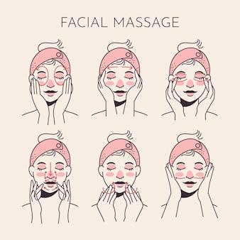 Técnica de massagem facial desenhada à mão plana