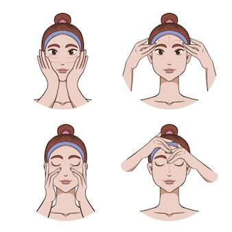 Técnica de massagem facial desenhada à mão