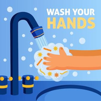 Técnica ilustrada para lavar as mãos