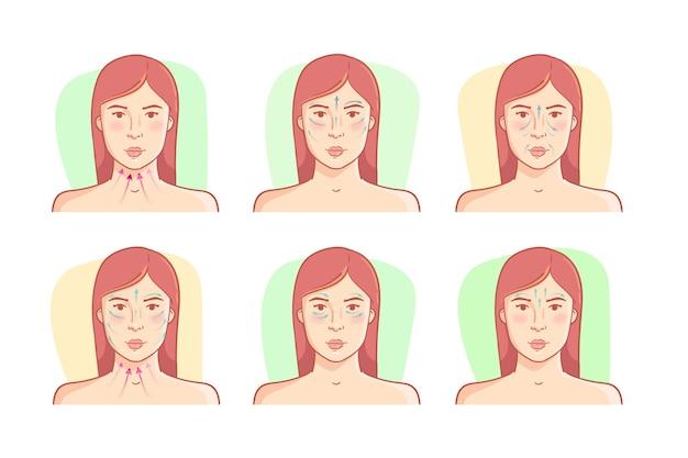 Técnica realista de massagem facial desenhada à mão com mulher