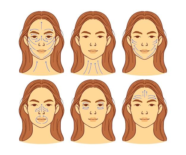 Técnica realista de massagem facial desenhada à mão