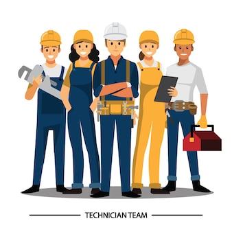 Técnico, construtores, engenheiros e mecânicos