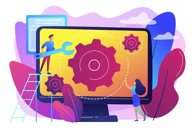 Técnico de informática com chave, consertando a tela do computador com engrenagens. serviço de informática, centro de reparo de laptop, conceito de serviço de configuração de notebook. ilustração isolada violeta vibrante brilhante