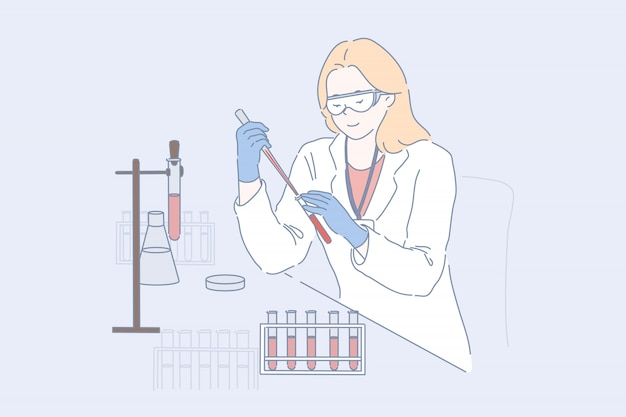 Técnico de laboratório no trabalho. pesquisador feminino, médico em óculos de proteção e jaleco branco fazendo exame de sangue, jovem químico, farmacologista estuda amostras em experimento científico. apartamento simples