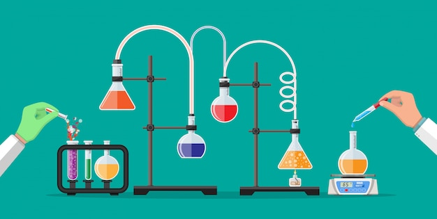 Técnico de laboratório, segurando o tubo de vidro e pipeta.