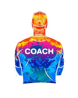Técnico esportivo em aquarela conceito