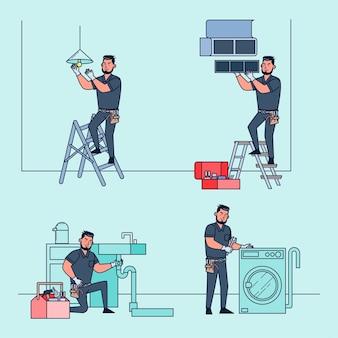 Técnicos profissionais para reparar e resolver vários problemas de equipamentos na casa