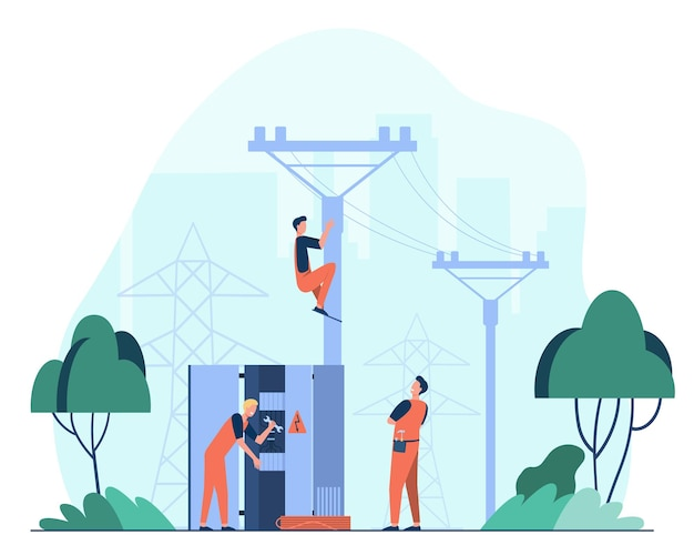 Técnicos que reparam a ilustração plana do transformador do gerador. desenho de trabalhadores elétricos fazendo linha de distribuição de energia