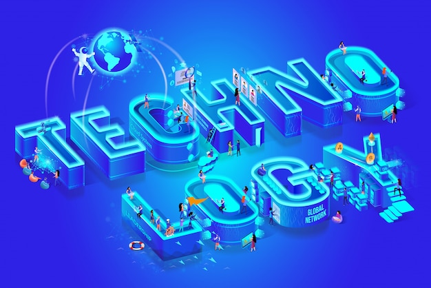 Tecnologia 3d isométrica palavra, pouco pessoas ao redor