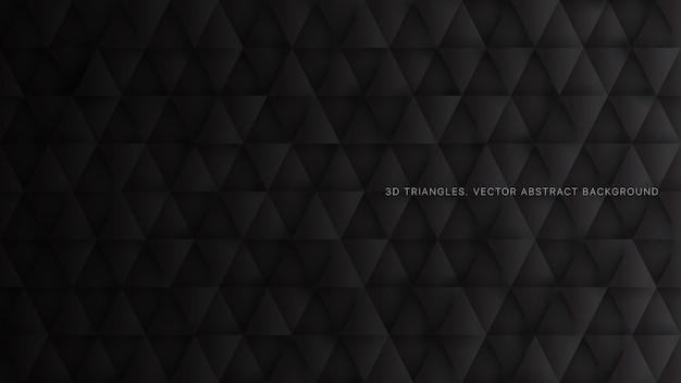 Tecnologia 3d padrão triangular abstrato preto