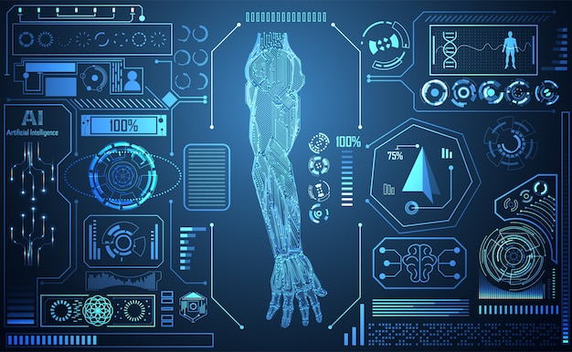 Tecnologia abstrata ai braço inteligência artificial digital