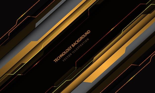 Tecnologia abstrata circuito cibernético amarelo cinza metálico slash speed design moderno futurista de fundo