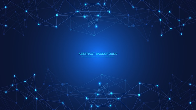 Tecnologia abstrata com pontos e linhas de conexão. tecnologia digital de conexão e comunicação de rede global.