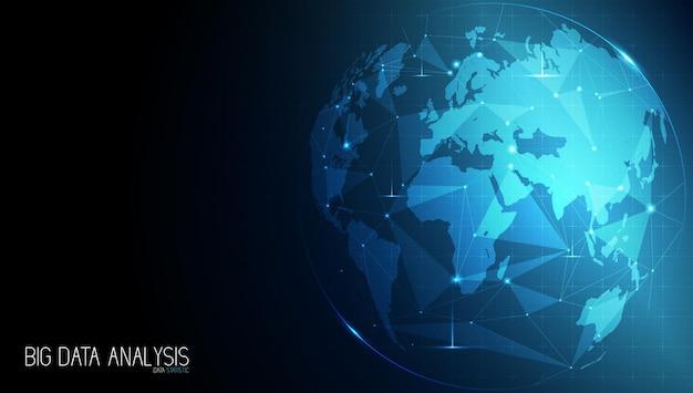 Tecnologia abstrata com rede mundial global e telecomunicações em dados digitais terrestres
