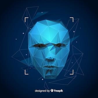 Tecnologia abstrata de reconhecimento de rosto artificial
