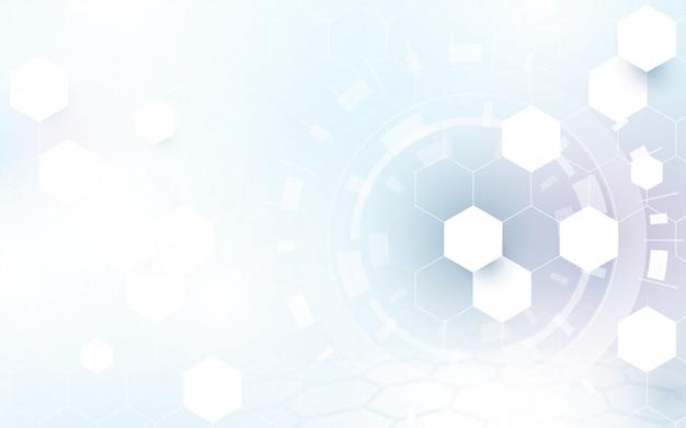 Tecnologia abstrata digital, olá! fundo do conceito dos hexágonos da tecnologia. espaço para seu projeto