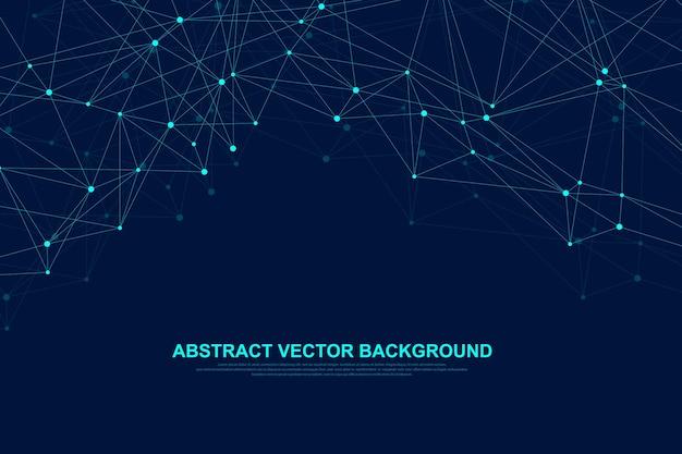 Tecnologia abstrata do conceito de conexão de rede. conexões de rede global com pontos e linhas. visualização de big data. infográfico futurista. ilustração vetorial.
