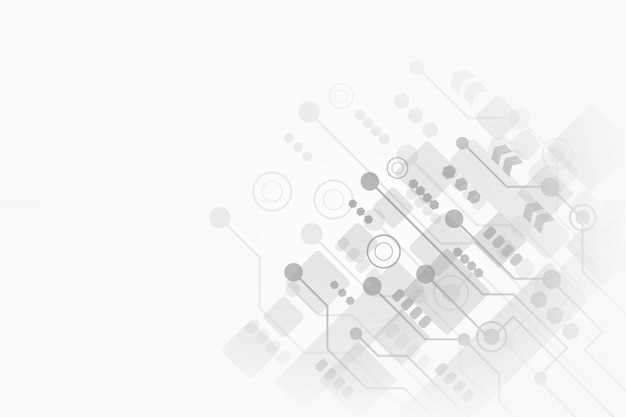 Tecnologia abstrata em fundo cinza para o seu negócio com placa de circuito futurista e geométrica poligonal