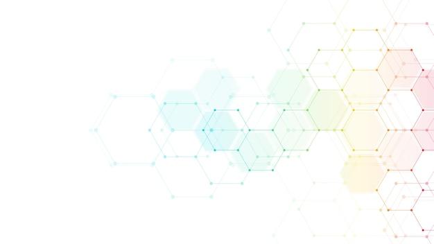 Tecnologia abstrata ou fundo médico com padrão de forma de hexágonos. conceitos e ideias para tecnologia de saúde, medicina inovadora, saúde, ciência e pesquisa.