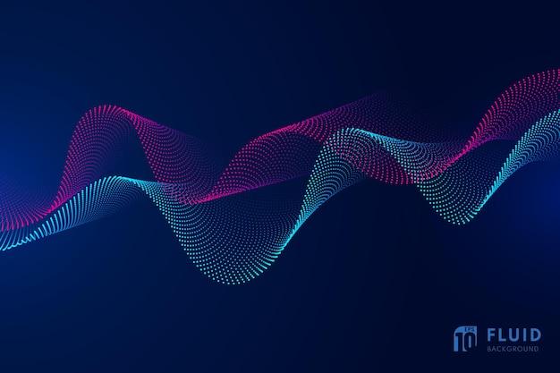 Tecnologia abstrata partículas vermelhas e azuis design ondulado movimento 3d de fundo dinâmico de som.