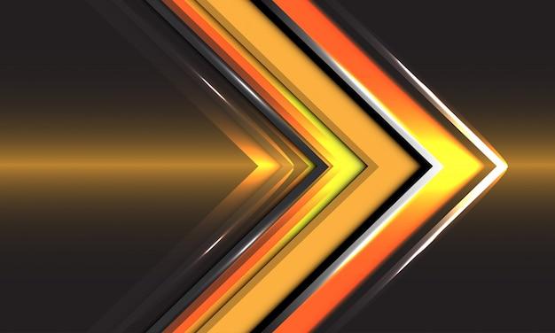 Tecnologia abstrata seta amarela direção velocidade ouro luz fundo futurista.