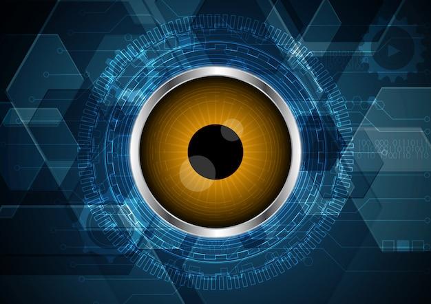 Tecnologia abstrato olho futuro circuito fundo hexagonal