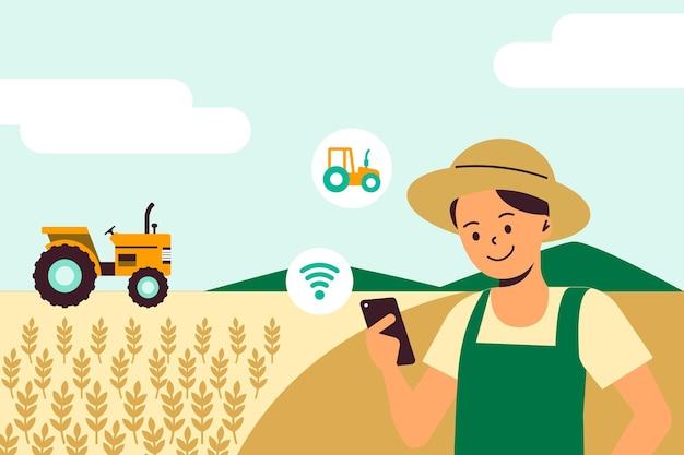 Tecnologia agrícola digital de vetor de trator inteligente