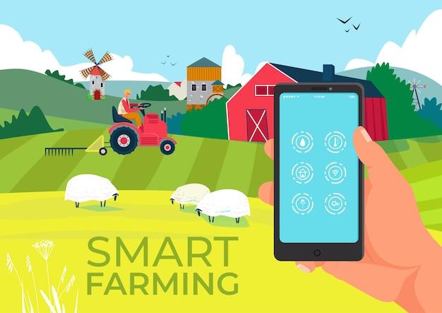 Tecnologia agrícola em smartphone