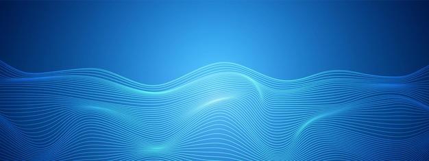 Tecnologia azul abstrata linhas distorcidas projetam superfície ondulada de fundo de rede digital