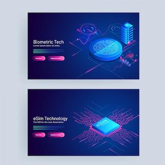 Tecnologia biométrica e conceito de tecnologia esim com base em web banner design.