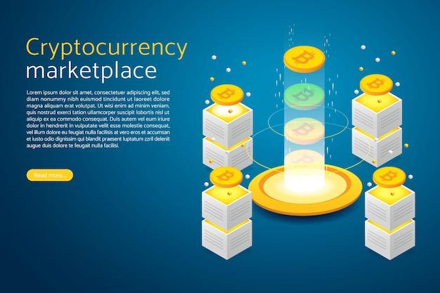 Tecnologia bitcoin blockchain mineração de moeda digital para finanças e comércio do mercado de criptomoedas