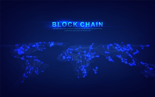 Tecnologia blockchain com conceito de conexão global adequada para investimentos financeiros ou negócios com tendências de criptografia