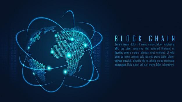 Tecnologia blockchain com conceito de conexão global