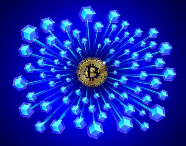 Tecnologia blockchain em bitcoin em fundo azul Vetor Premium