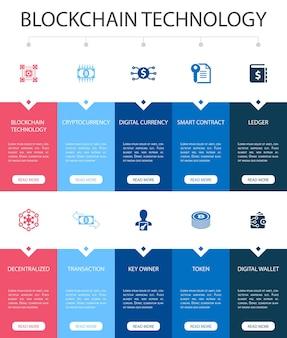 Tecnologia blockchain infográfico 10 opção ui design.cryptocurrency, moeda digital, contrato inteligente, ícones simples de transação