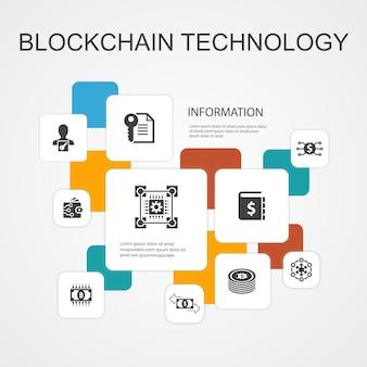 Tecnologia blockchain infográfico de 10 ícones de linha template.criptomoeda, moeda digital, contrato inteligente, ícones simples de transação