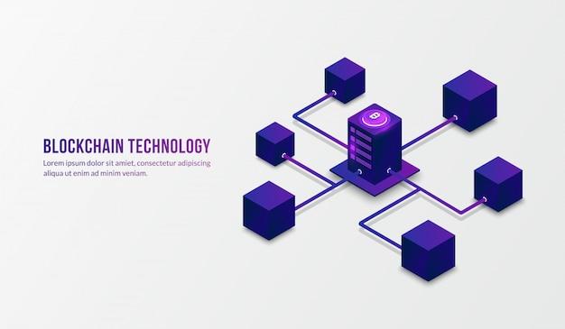 Tecnologia blockchain isométrica e conceito de grande volume de dados