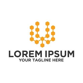 Tecnologia blockchain logotipo da letra w inicial