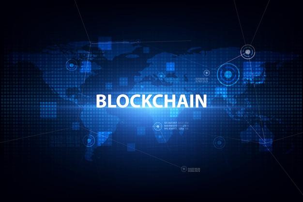 Tecnologia blockchain no fundo futurista com rede de mapas do mundo
