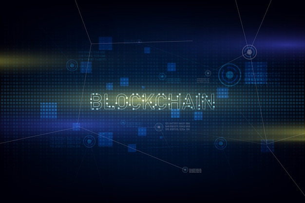 Tecnologia blockchain no fundo futurista com rede