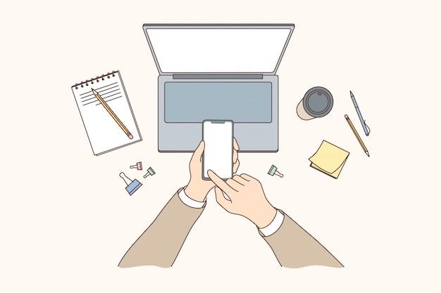 Tecnologia, celular, comunicação, mídias sociais, conceito do negócio.